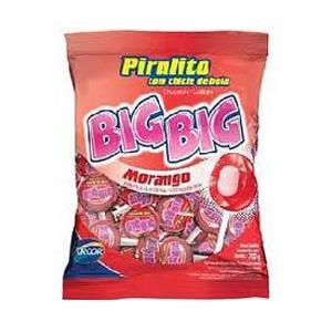 Pirulito chiclete Big Big morango 50x1
