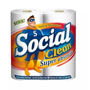 Papel toalha Social clean 2 rolos