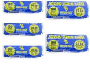 Saco azul para lixo extrusa pack rolo 100lts./20kg. (pacote c/5 unid.)