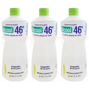 Álcool etílico líquido 46º INPM tradicional 1lt (pacote c /3 unid.)