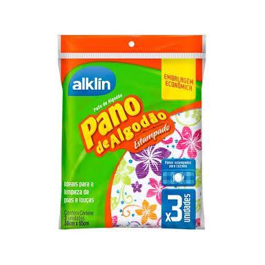 Pano de algodão estampado ideal p/ pias e louças Alklin 3x1