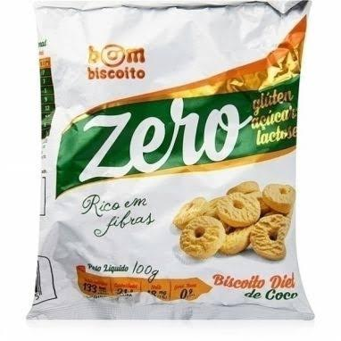 Biscoito Zero Açúcar sabor coco Bom Biscoito 100g