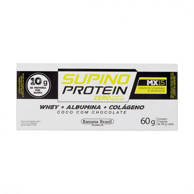 Barra de proteina c/ colágeno coco c/ chocolate 2x30g Supino