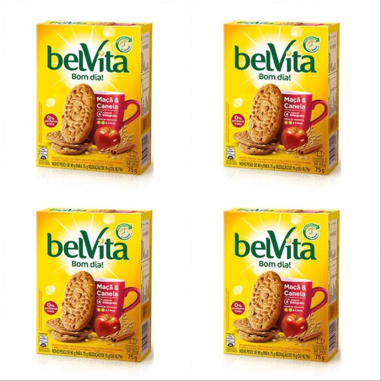 Biscoito Belvita maçã e canela 75g. ( pacote c/ 4 unid.)