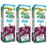 Bebida a base de soja sabor uva Mais Vita Yoki 1lt. (pacote c/3 unid.)