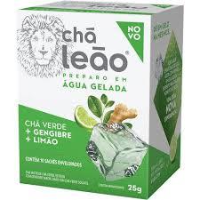 Chá verde + gengibre + limão p/ preparo em água gelada Leão 25g