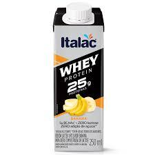 Bebida láctea Whey 25g Protein zero lactose sabor banana Italac  250ml
