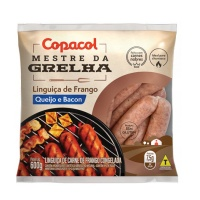 Linguiça de frango com queijo e bacon congelada Copacol 600g