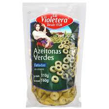 Azeitona verde fatiada em sachê  La Violetera 160g